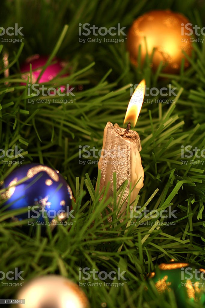 Chrismas decoration and candle light stock photo
