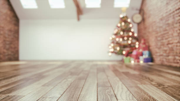 chrismas room and decorated. stock photo