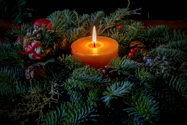 Chrismtas decoration with candle and fur stock photo
