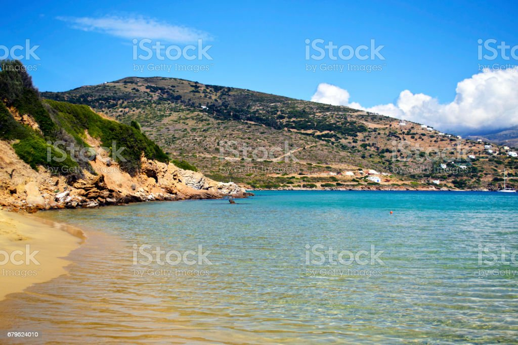Chrissi Ammos beach in Andros island Greece stock photo