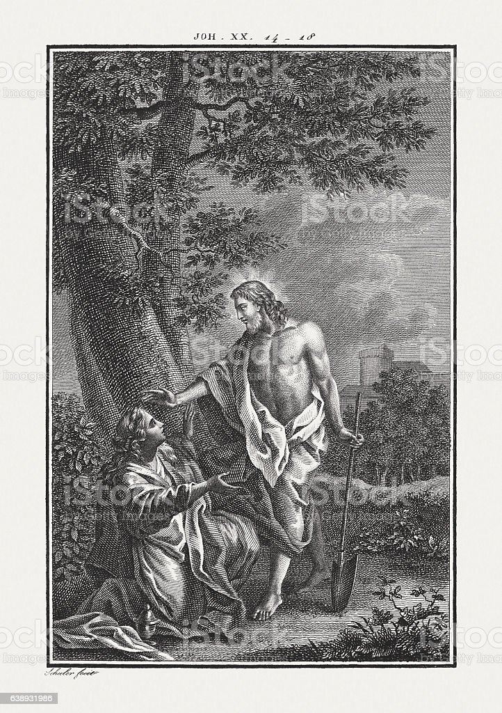 Christ and Mary Magdalene (John 20), copper engraving, published c.1850 stock photo