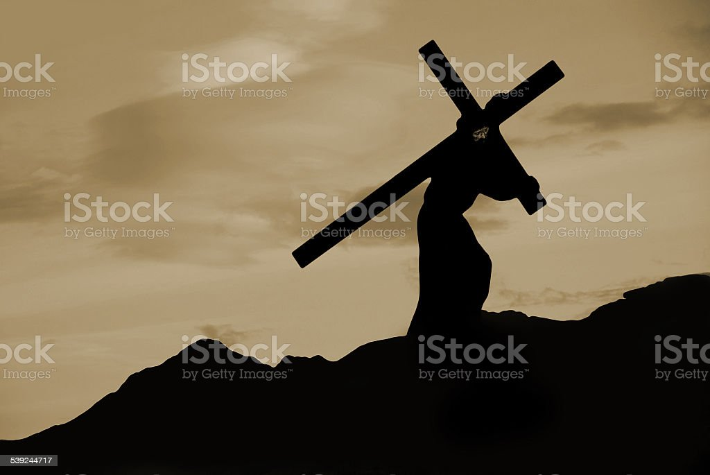 royalty free silhouette of carrying cross pictures images