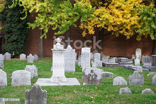 Philadelphia, Pennsylvania, USA - November 11, 2016:  View of cemetery at historic Christ Church Burial ground in Philadelphia Pennsylvania. This notable graveyard is the final resting place to many of some of our most prominent early American leaders including Benjamin Franklin and four other signers of the Declaration of Independence.