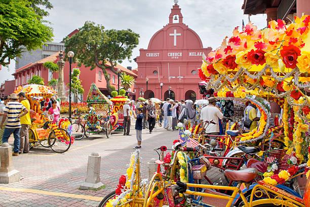 christ church melaka in malaysia - malakka staat stockfoto's en -beelden