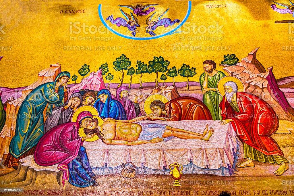 Christ Cross Mosaic Church Holy Sepulchre Jerusalem Israel stock photo