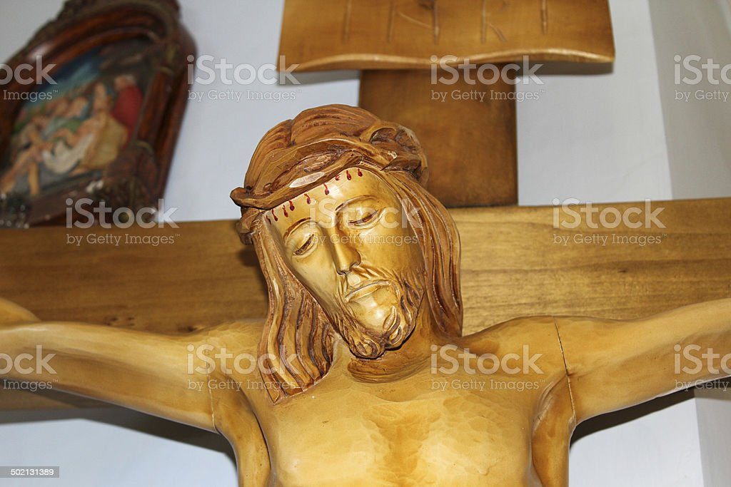 Christ Crucifix Wood Statue royalty-free stock photo