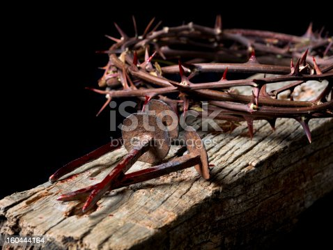 Simulation of the nails of Jesus Christ and the crown of thorns