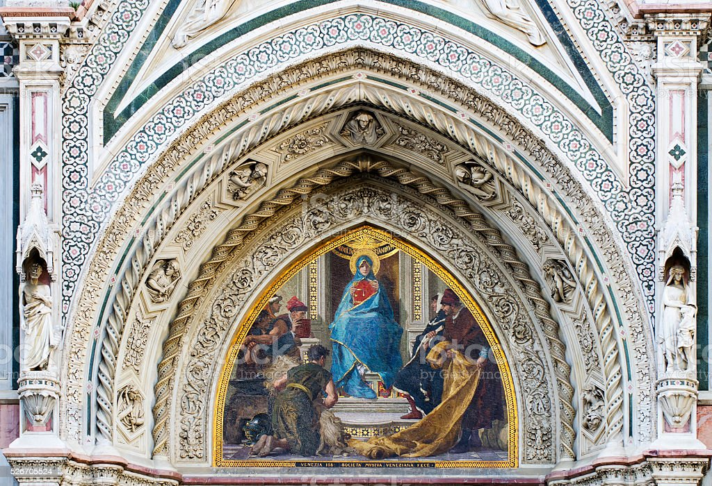 Christ enthroned with Mary and St. John the Baptist stock photo