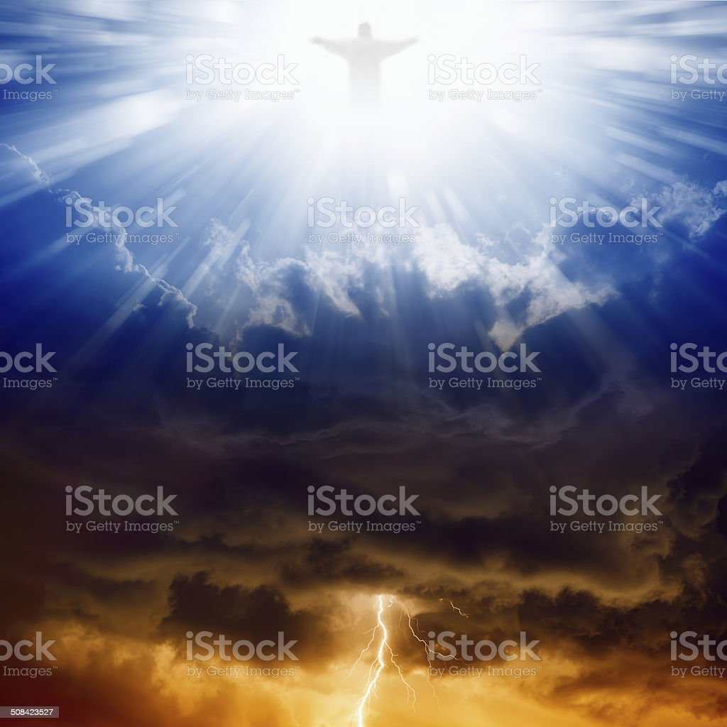 Christ, heaven and hell stock photo