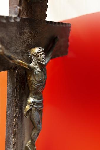 christ on the cross crucified on clean gradient background catholic religion catholic symbols catholicism