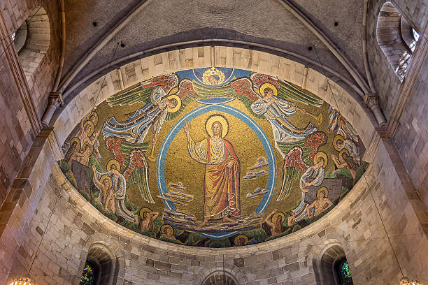 christ on the skys of heaven - lund stock photos and pictures