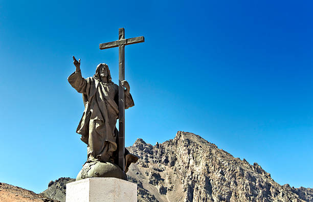 Christ Redeemer of the Andes, Mendoza, Argentina stock photo