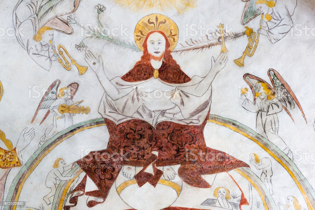 Christ sitting on the rainbow of heaven on judgment day,  gothic fresco stock photo