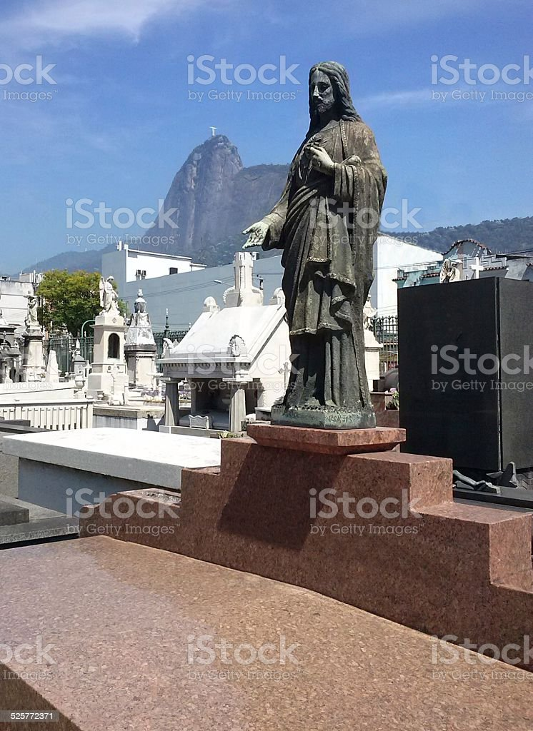 Christ the Redeemer in the grave and the Corcovado Mountain stock photo