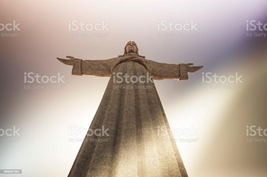 christ the redeemer statue, lisbon, portugal stock photo