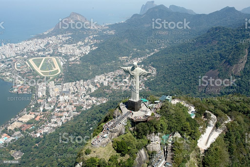Christ the Redeemer with hipódramo the background Rio stock photo