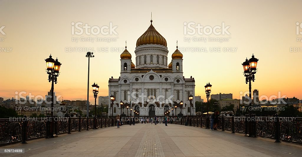 Christ the Savior Cathedral at sunset stock photo