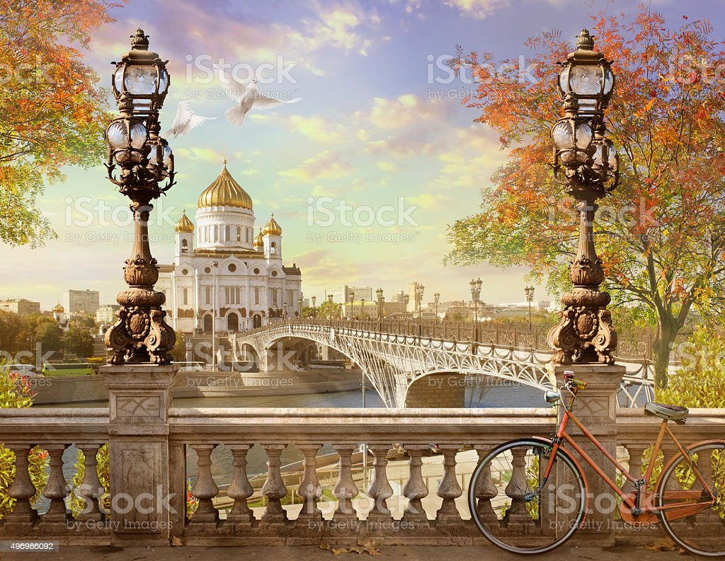 Christ the Savior Cathedral, the panorama. stock photo