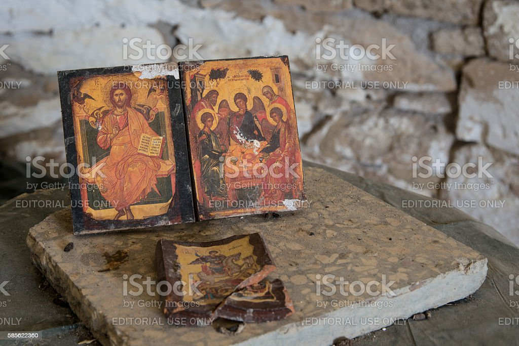 Christan saint paintings on wood stock photo