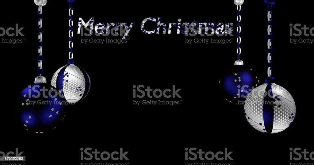 Christbaumkugeln Blau.Christbaumkugeln In Silber Und Blau Mit Text Frohe Weihnachten Stock