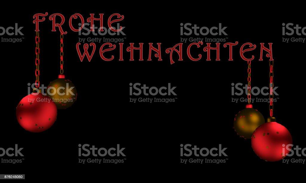 Frohe Weihnachten Download.Christbaumkugeln Mit Text Frohe Weihnachten In Deutsch Stock Photo