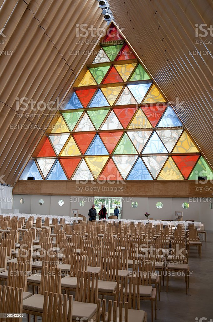 Christchurch Cardboard Cathedral  Inside stock photo