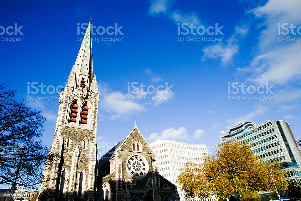 Christchurch Cathedral in Autumn, New Zealand stock photo