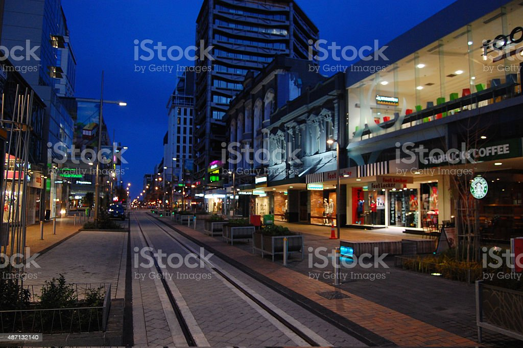 Christchurch city center street in the evening stock photo