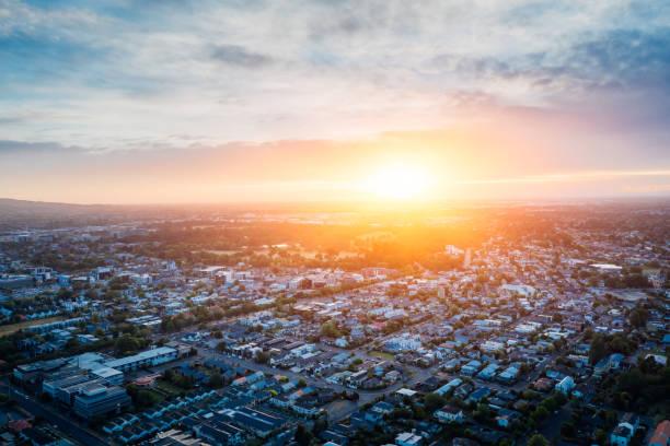 Christchurch cityscape at sunset. stock photo