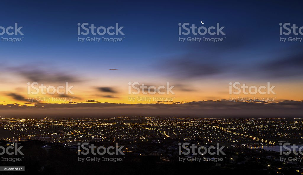 Christchurch cityscape by night stock photo