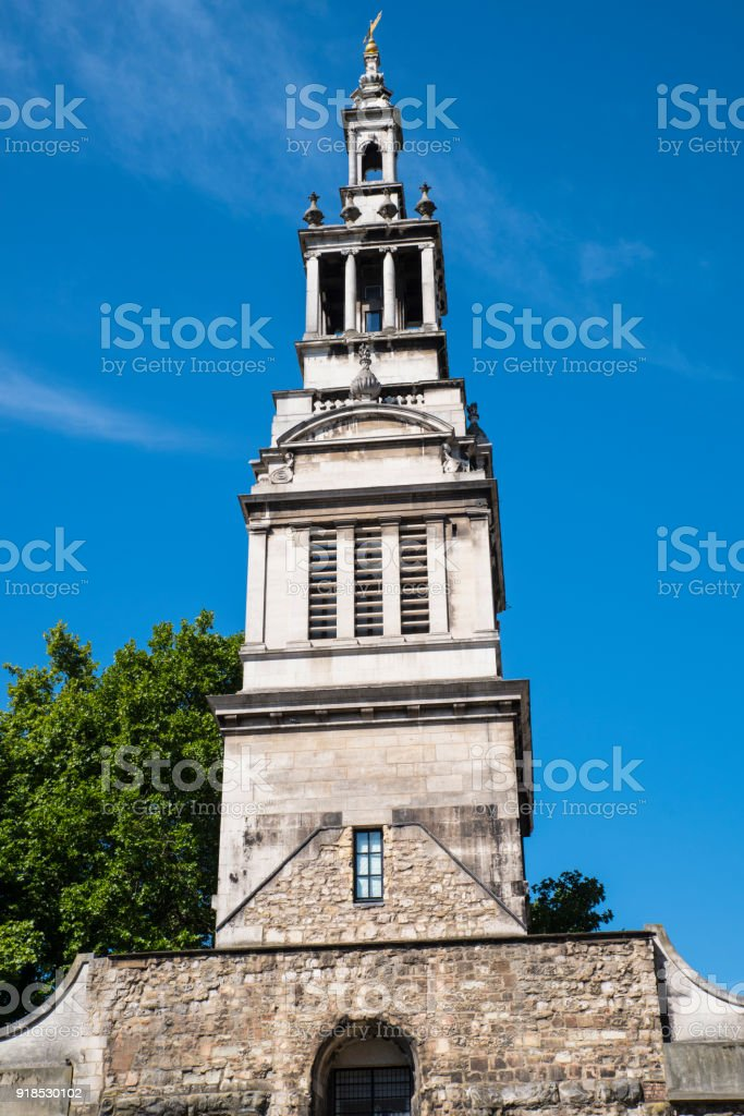 Christchurch Greyfriars in the City of London stock photo