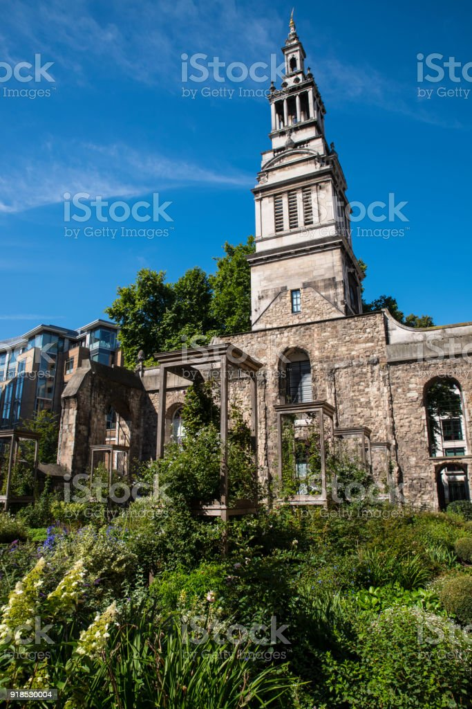 Christchurch Greyfriars in the City of London, UK stock photo