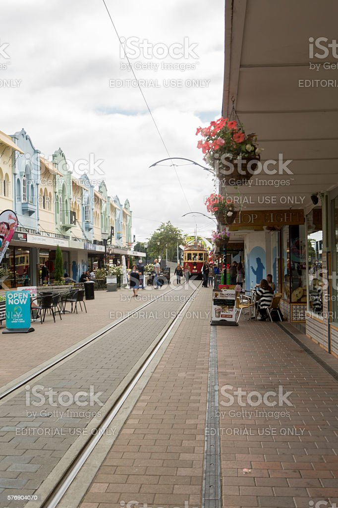 Christchurch, New Zealand: Cafes, restaurants and tramway on Regent street stock photo
