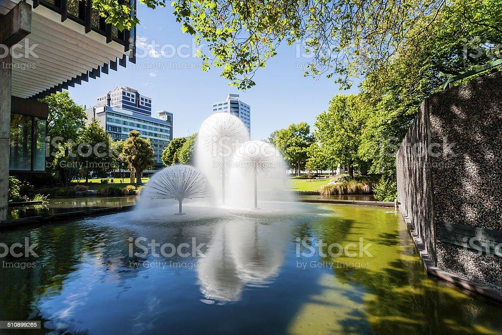 Christchurch New Zealand Ferrier Fountain Victoria Square stock photo