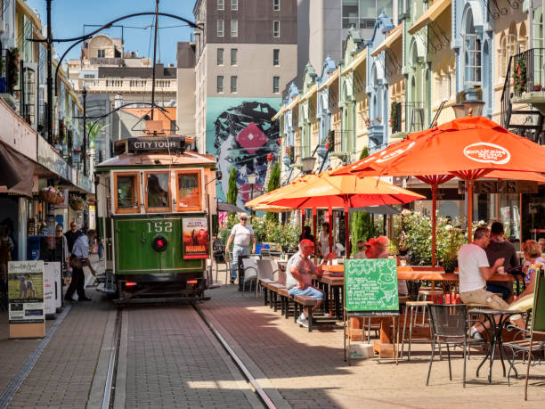 Christchurch, New Zealand, New Regent Street, with Vintage Tram, Cafes, Shops, People stock photo