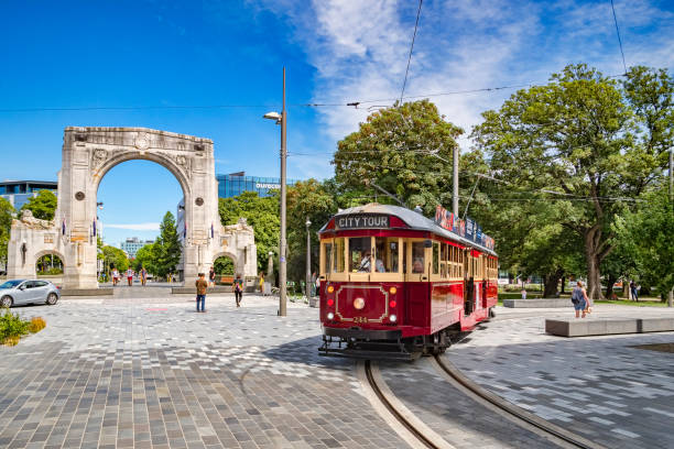 Christchurch, New Zealand, Vintage Tram and Bridge of Remembrance stock photo