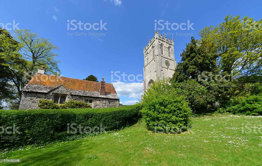 Christchurch Priory and Old Building stock photo
