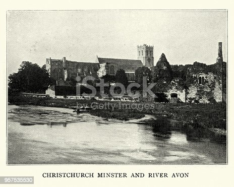 Vintage victorian phtoograph of Christchurch Priory and River Avon, 1899. Christchurch is a town and borough on the south coast of England.