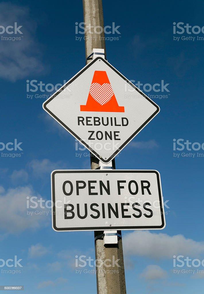 Christchurch Rebuild Sign stock photo
