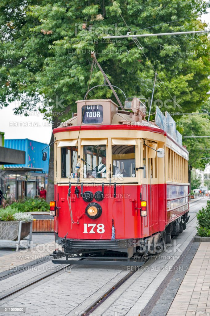 Christchurch Tramway, classic transportation in New Zealand stock photo