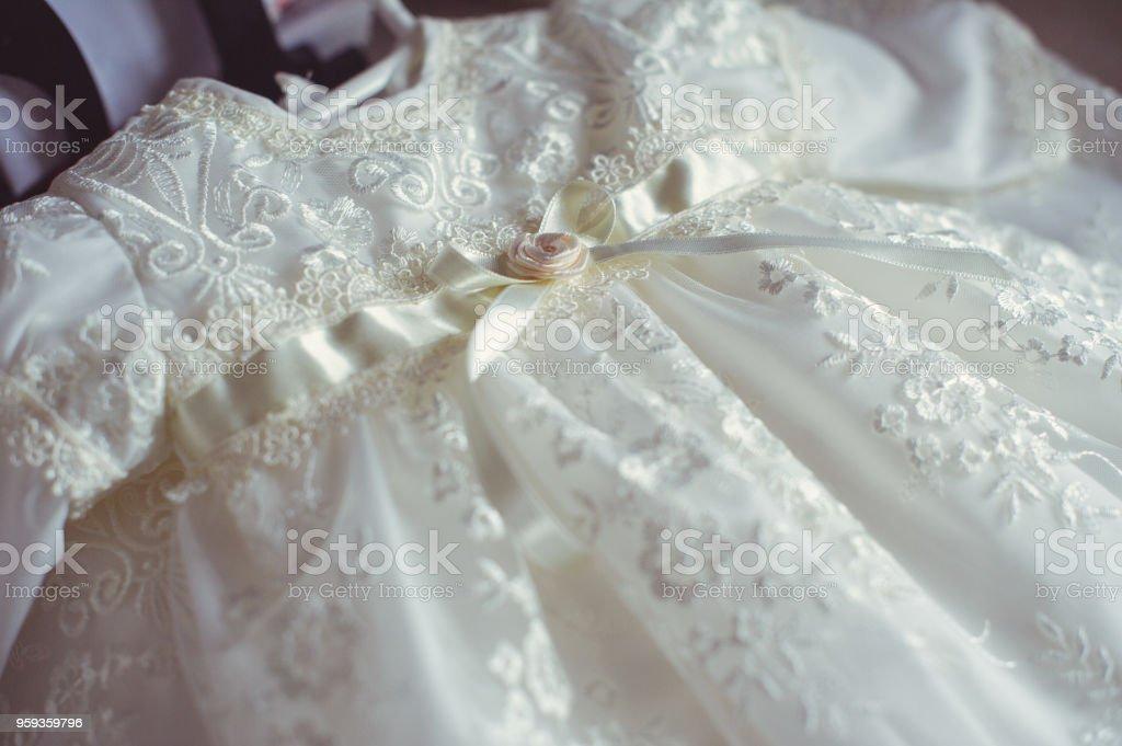 Taufe Baby Kleid Nahaufnahme Von Einem Niedlichen