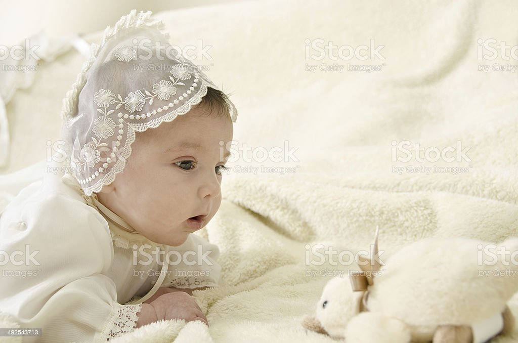 Christening baby stock photo