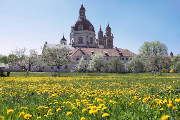 christliches barockkloster in blühender frühlingswiese. - klosterurlaub stock-fotos und bilder