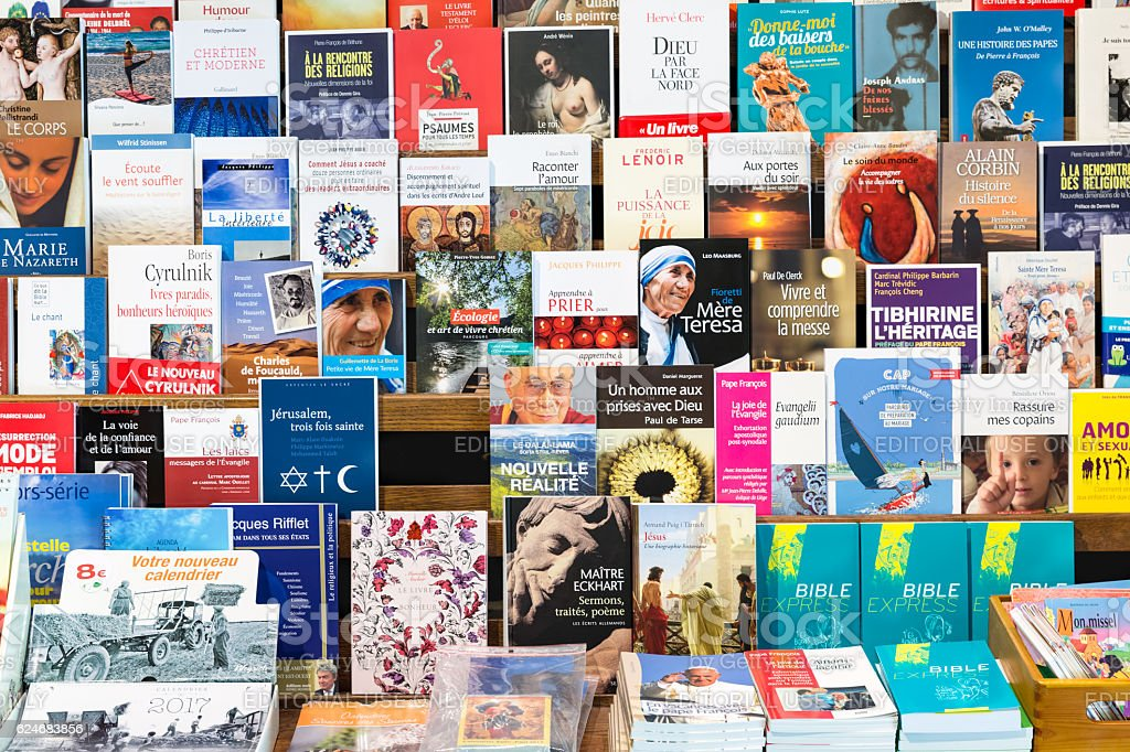 Christian books for sale in gift shop Orval Abbey, Belgium stock photo