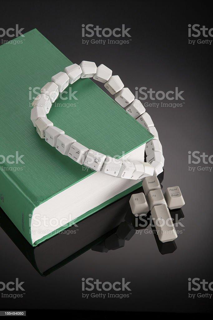 Christian, catholic rosary made from computer keyboard stock photo
