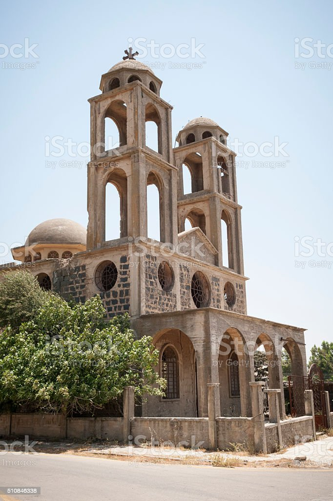 Christian church in Quneitra, Syria stock photo