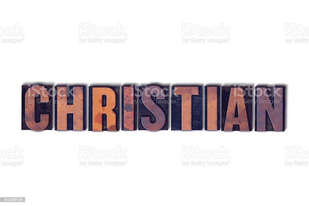 Christian Concept Isolated Letterpress Word stock photo