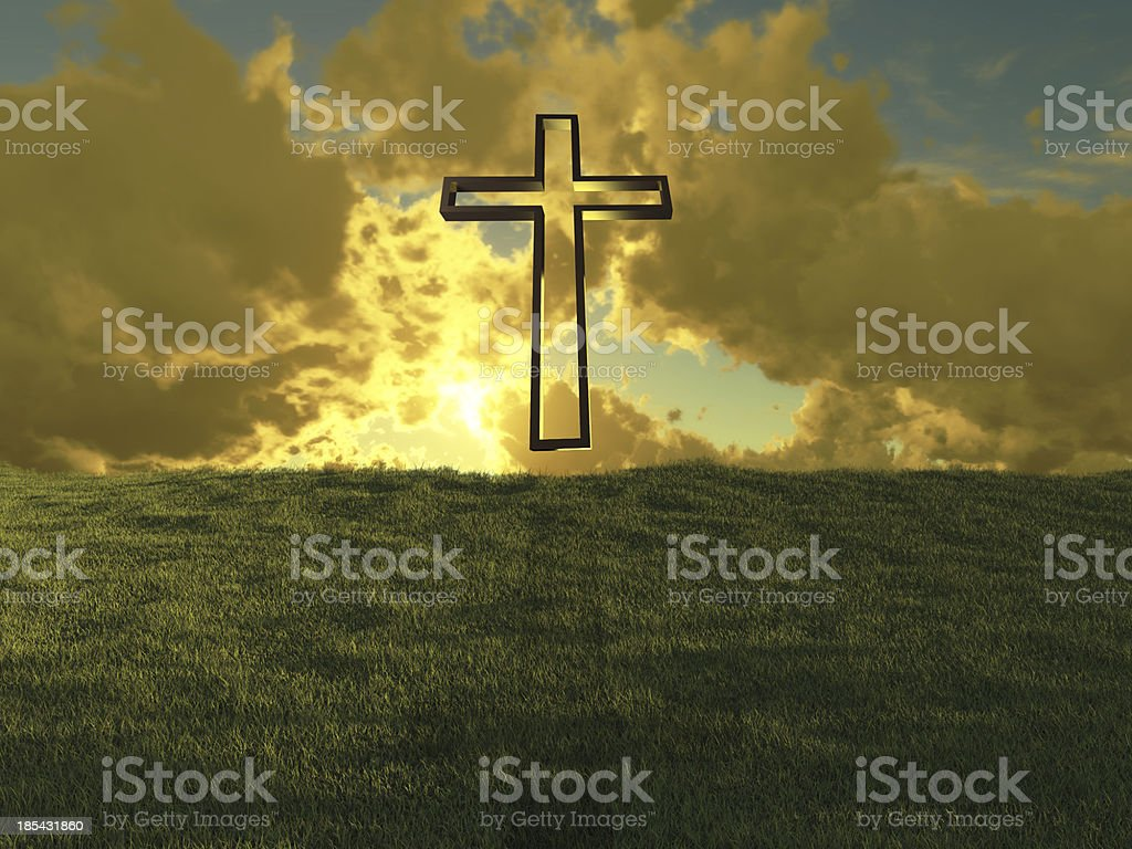Christian cross against the sky royalty-free stock photo