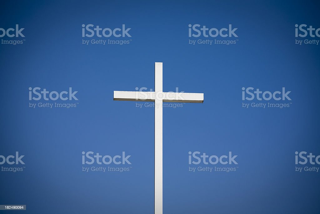 Christian Cross and clear blue sky royalty-free stock photo