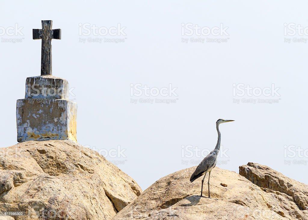 Christian cross and heron on rock island in Kerala backwaters stock photo